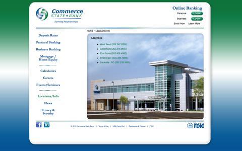 Screenshot of Locations Page commercestatebank.com - Locations/Info - - captured Dec. 10, 2015