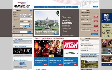 Screenshot of Home Page classicbritain.com - Short Breaks   Weekend Break   Luxury Hotel Deal in UK   Classic Britain - captured Oct. 2, 2014