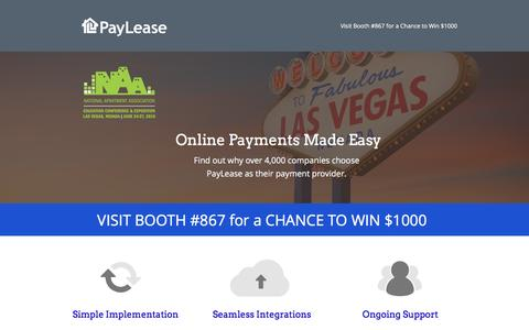 Screenshot of Landing Page paylease.com - NAA 2015 Conference | Visit PayLease | Booth #867 - captured Oct. 20, 2016