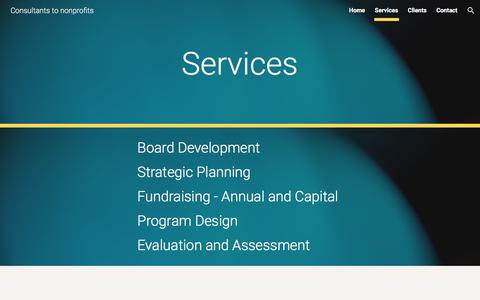 Screenshot of Services Page google.com - Consultants to nonprofits - Services - captured Oct. 12, 2017