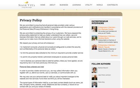Screenshot of Privacy Page sagevita.com - Privacy Policy - Sage Vita - captured Oct. 3, 2014
