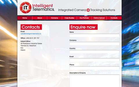 Screenshot of Contact Page intelligent-telematics.ie - Contact - captured Oct. 4, 2014