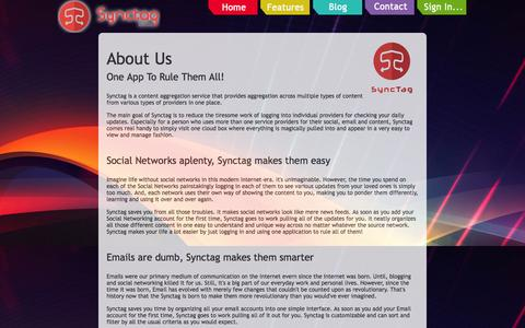 Screenshot of About Page synctag.com - About Us - Synctag - captured Sept. 30, 2014