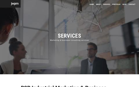 Screenshot of Services Page jwpm.com.au - JWPM Industrial Strength Marketing - Services - captured Oct. 1, 2018
