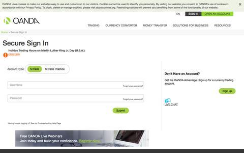 Screenshot of Login Page oanda.com - Secure Sign In   OANDA - captured Jan. 20, 2020