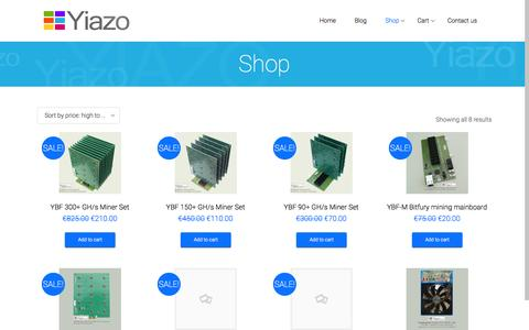 Screenshot of Home Page yiazo.com - Yiazo | is there for you – crypto currency services and miner products - captured Jan. 21, 2015