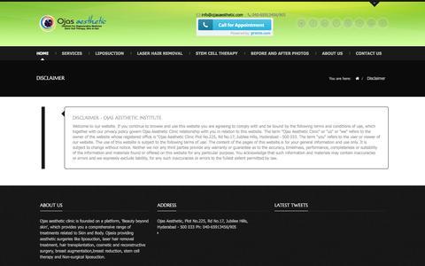 Screenshot of Terms Page ojasaesthetic.com - Disclaimer | Ojasesthetic.com - captured Dec. 1, 2016