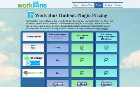 Screenshot of Pricing Page work-bins.com - Work Bins - Pricing - captured Sept. 20, 2018