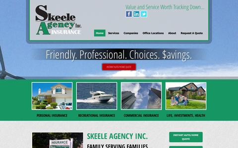 Screenshot of Home Page skeele.com - Home | Skeele Insurance Agency Inc. - captured Oct. 4, 2014