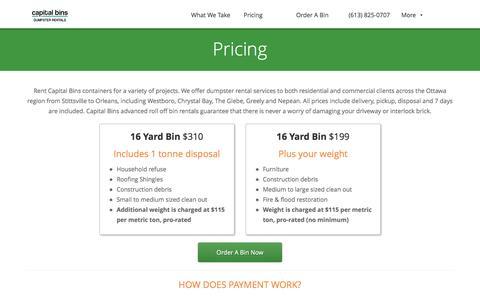 Screenshot of Pricing Page capitalbins.ca - Capital Bins Dumpster Rental Pricing - captured Dec. 30, 2016