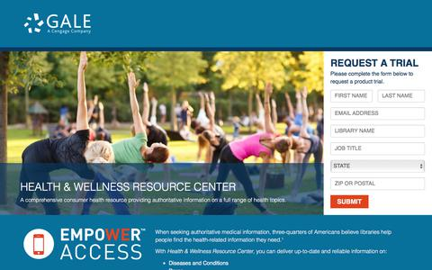 Screenshot of Landing Page cengage.com - Gale's Health & Wellness Resource Center - captured April 1, 2018