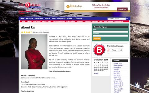 Screenshot of About Page the-bridge-magazine.com - The Bridge Magazine  About Us » The Bridge Magazine - captured Oct. 26, 2014