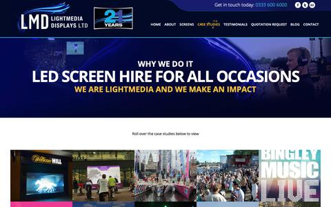 Screenshot of Case Studies Page lightmedia.co.uk - Case Studies | Outdoor LED Screen Hire - captured Sept. 28, 2018
