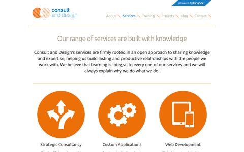 Screenshot of Services Page consultanddesign.com - Our range of services are built with knowledge | Consult and Design - captured Jan. 31, 2016