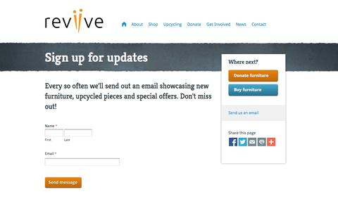 Screenshot of Signup Page reviive.co.uk - Sign up for updates - Reviive - captured Oct. 8, 2014