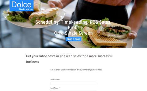 Screenshot of Trial Page dolcesoftware.com - Contact DolceClock Sales | Dolce Software - captured July 8, 2018