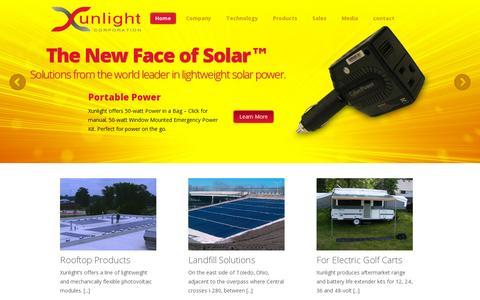 Screenshot of Home Page xunlight.com - Home - Xunlight - captured July 11, 2014