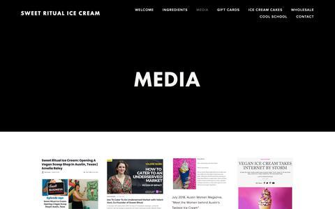 Screenshot of Press Page sweetritual.com - Media — Sweet Ritual Ice Cream - captured Nov. 19, 2018