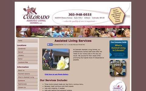Screenshot of Services Page coloradoassistedliving.com - Assisted Living Services   Colorado Assisted Living Homes - captured Oct. 3, 2014