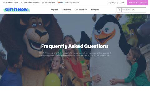 Screenshot of FAQ Page giftitnow.com.au - Frequently Asked Questions | Gift It Now - captured July 18, 2018