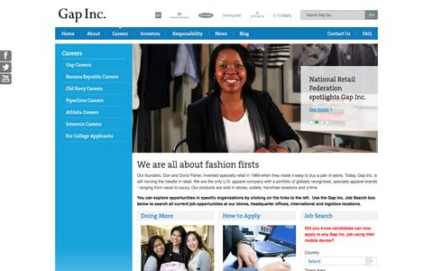 Screenshot of Jobs Page gapinc.com - Careers - captured Sept. 23, 2014
