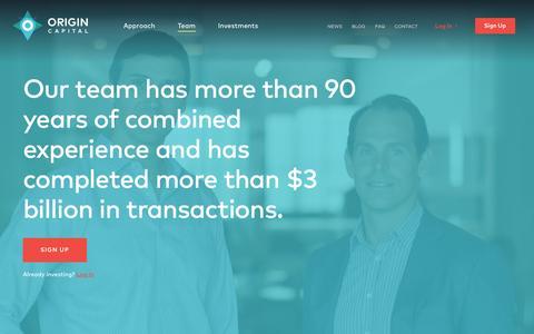 Screenshot of Team Page origincapitalpartners.com - Meet our Team | Origin Capital Partners - captured Feb. 22, 2016
