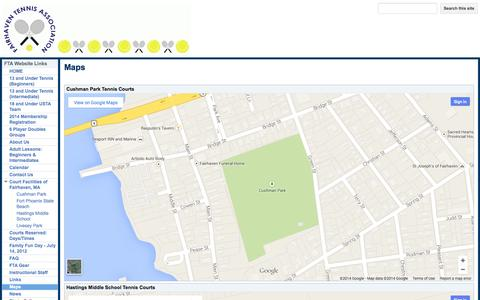 Screenshot of Maps & Directions Page fairhaventennis.org - Maps - Fairhaven Tennis Association - captured Oct. 5, 2014