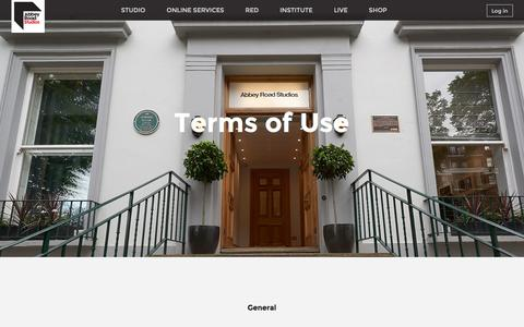 Screenshot of Terms Page abbeyroad.com - Abbey Road - Terms of Use - captured Feb. 5, 2016