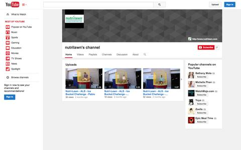Screenshot of YouTube Page youtube.com - nutrilawn's channel  - YouTube - captured Oct. 29, 2014