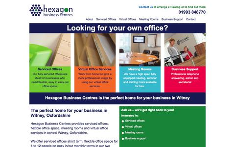 Screenshot of Home Page hexagonbusinesscentres.co.uk - The perfect home for your business in Witney, Oxfordshire - captured Sept. 30, 2014