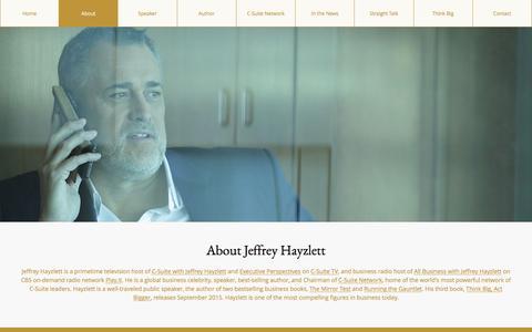 Screenshot of About Page hayzlett.com - About Jeffrey Hayzlett - Hayzlett - captured Jan. 15, 2016