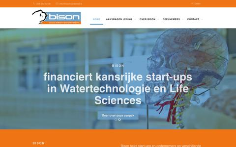 Screenshot of Home Page bison-powered.nl - Financiering startup ondernemers met innovatie lening | Bison - captured Oct. 18, 2018