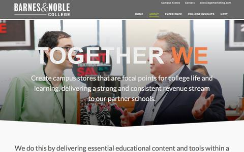 Screenshot of About Page bncollege.com - Barnes & Noble College | About Us - captured Sept. 28, 2017