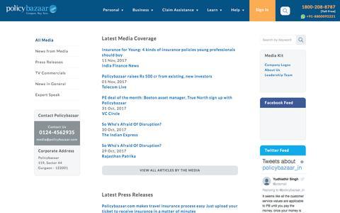 Screenshot of Press Page policybazaar.com - PolicyBazaar Press Release - captured Dec. 1, 2017