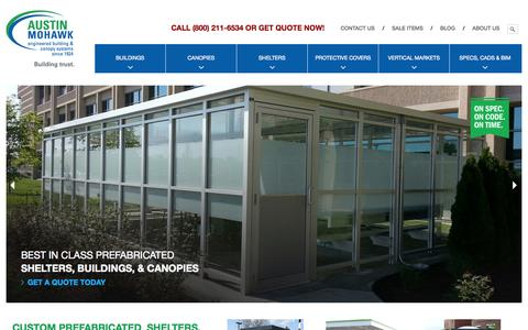 Screenshot of Home Page Menu Page austinmohawk.com - SHELTERS, BOOTHS, CANOPIES & BUILDINGS » Austin Mohawk Inc. - captured Sept. 30, 2014