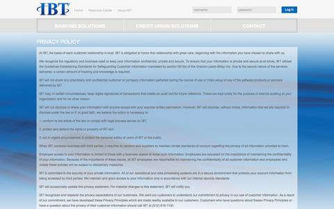 Screenshot of Privacy Page ibtapps.com - Privacy Policy | IBT - captured Sept. 19, 2014