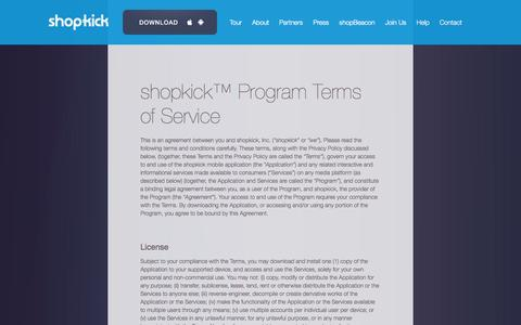 Screenshot of Terms Page shopkick.com - shopkick  | terms of service - captured Sept. 12, 2014