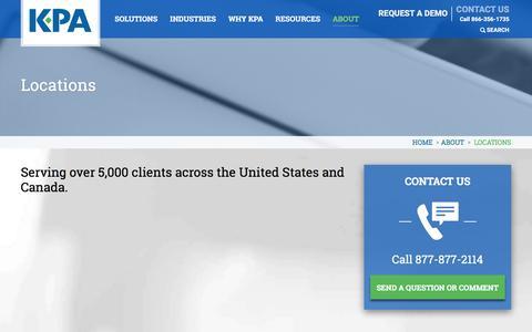 Screenshot of Locations Page kpaonline.com - EHS, HR Management, F&I Compliance Training, Verification, Software Tools | KPA - captured Feb. 12, 2016