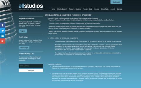 Screenshot of Terms Page allstudios.co.uk - Terms - AllStudios - captured Nov. 20, 2016