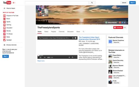 Screenshot of YouTube Page youtube.com - TheFreestylersSports  - YouTube - captured Nov. 3, 2014