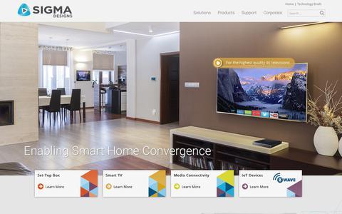 Screenshot of Home Page sigmadesigns.com - Enabling Smart Home Convergence | Sigma Designs - captured Aug. 30, 2017