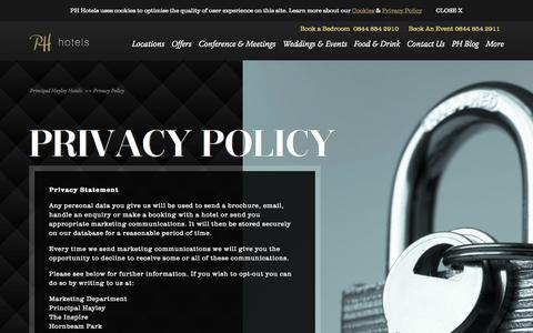 Screenshot of Privacy Page principal-hayley.com - Privacy Policy - Principal Hayley Hotels - captured Sept. 23, 2014