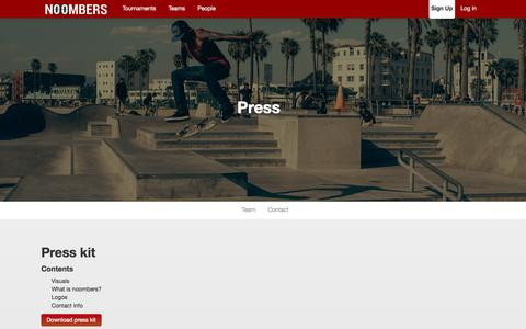 Screenshot of Press Page noombers.com - Noombers | Press - captured Oct. 29, 2014