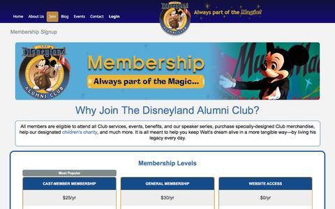 Screenshot of Signup Page disneylandalumni.org - Membership Signup | Disneyland Alumni Club - captured Dec. 1, 2016