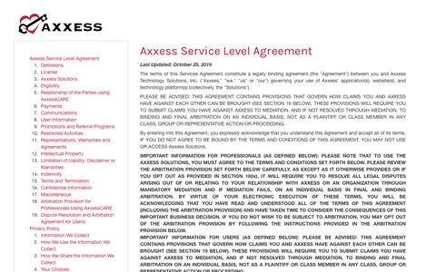 Screenshot of Privacy Page axxess.com - Axxess | Terms Of Service - captured Feb. 5, 2020