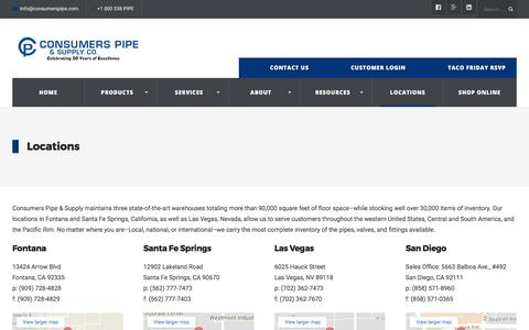 Screenshot of Locations Page consumerspipe.com - Locations - CA & NV | Consumers Pipe and Supply Co. - captured Aug. 27, 2017