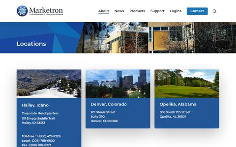 Screenshot of Locations Page marketron.com - Locations - Marketron Broadcast Solutions - captured Sept. 20, 2018
