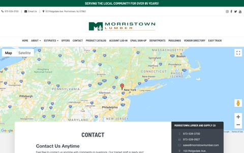 Screenshot of Contact Page morristownlumber.com - Talk with Us - Morristown Lumber and Supply Co. | Morristown Lumber Morristown, NJ - captured Feb. 22, 2020