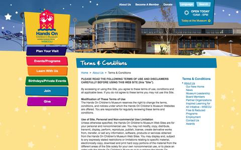 Screenshot of Terms Page hocm.org - Terms & Conditions > Hands On Children's Museum of Olympia - captured July 15, 2017