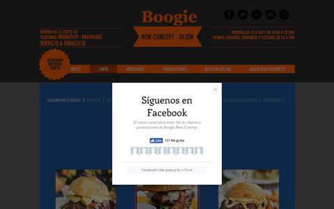 Screenshot of Menu Page elboogie.es - www.elboogie.es carta - captured July 17, 2018